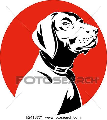 Clipart of Pointer dog head profile k2416771 - Search Clip Art ...