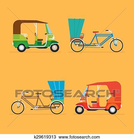 Clipart of Indian rickshaw. Auto rickshaw and pedicab ...