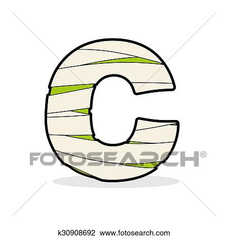 Clipart Of Letter C Egyptian Zombies. Abc Sign Coiled Medical