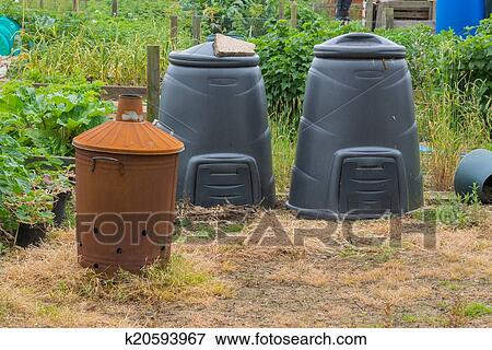 Picture of Garden incinerator and black compost bins k20593967 ...