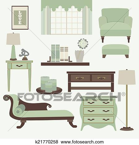 living room furniture clipart. clip art - living room furniture and accessory. fotosearch search clipart, illustration posters clipart