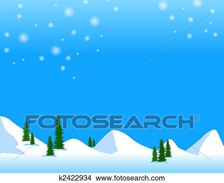 手绘图 - 雪, 山