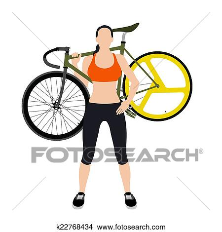 clipart of cyclists and fixed gear bicycle k22768434 search clip rh fotosearch com female cyclist clipart cyclist clipart black
