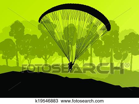 clipart paragliding actif sport fond paysage concept vecteur k19546883 recherchez des. Black Bedroom Furniture Sets. Home Design Ideas