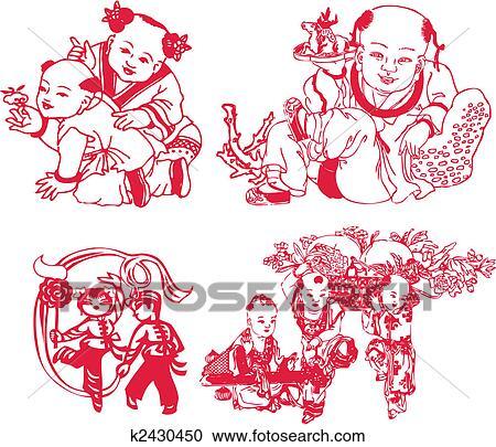 剪贴画 中国的新年, 孩子玩