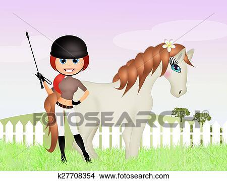 手绘图 - 女孩, 带, 马