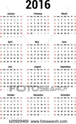 clip art kalender 2016 k20929469 suche clipart poster illustrationen zeichnungen und eps. Black Bedroom Furniture Sets. Home Design Ideas