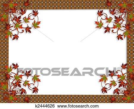 Fall Border Illustrations Autumn Fall Leaves Border