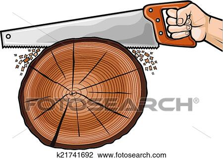 Clipart of cutting tree with hand saw k21741692 - Search ...