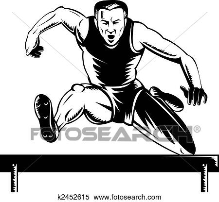 Stock Illustration of track and field athlete jumping ...