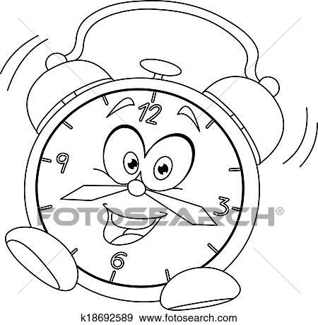 Clipart esquiss dessin anim r veille matin k18692589 - Dessin reveil ...