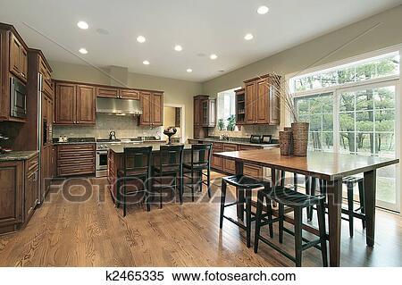 Stockmotiv   luksus, køkken, hos, træ, kabinetter k2465335   søg i ...