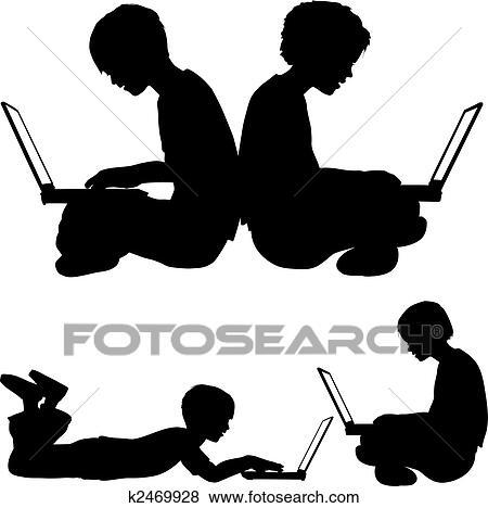 Clip art m dchen und junge gebrauch laptops sitzen for Boden clipart