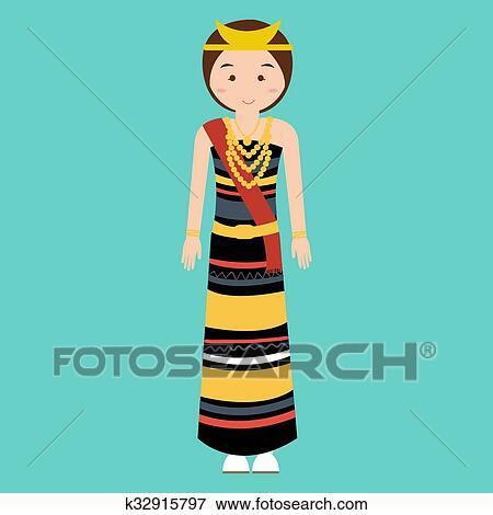 Clip Art of woman wearing traditional clothes nusa tenggara timur ...