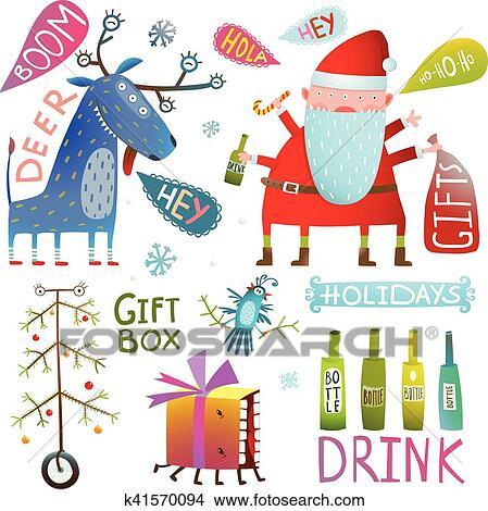 剪贴画 - 高兴的新年, 圣诞快乐, 夹子艺术, 收集, 带, 鹿, santa图片