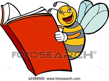 clipart of bee reading book k2489560 search clip art illustration rh fotosearch com Books Reading Graphics Reading Clip Art