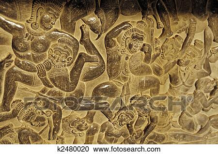 Stock photography of bas relief angkor wat cambodia for Bas relief mural
