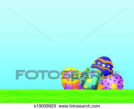 Clip Art Of Softball Easter Eggs In Grass K19009929