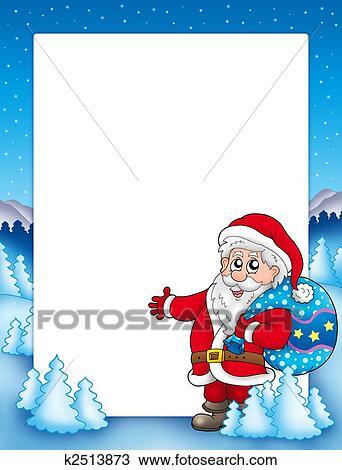 zeichnung weihnachten rahmen mit weihnachtsmann 1. Black Bedroom Furniture Sets. Home Design Ideas