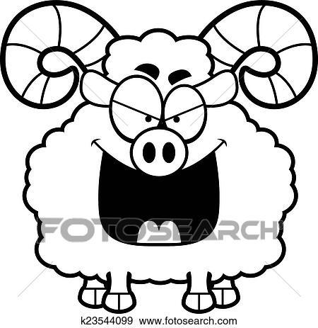 clip art of evil cartoon ram k23544099 search clipart rh fotosearch com ram clipart black and white ram clipart mascot