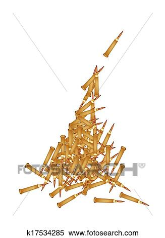 Clipart of Stack of Rifle Bullets on White Background k17534285 ...