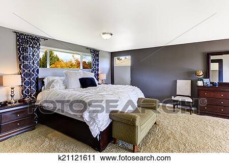 Arkivfotografi - cozy, soverom, indre, inn, myk, fiolett, farge ...