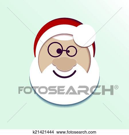 剪贴画 - 纸, 头, 圣诞老人