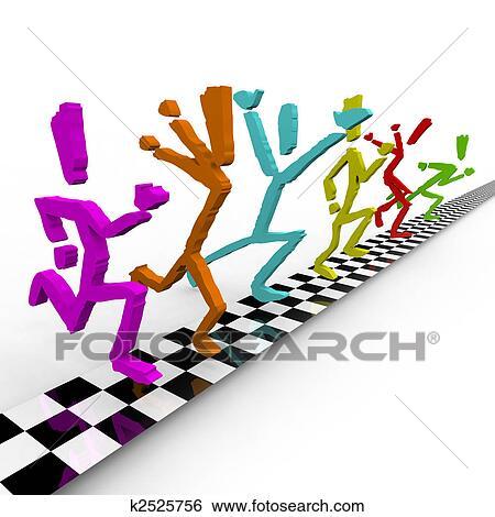Photo Finish - Runners Cross  Race Clipart Finish Line