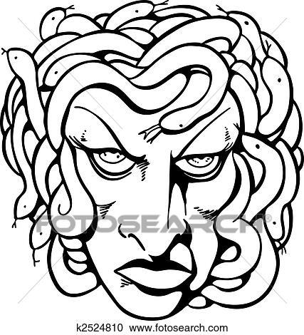 clipart of medusa line art k2524810 search clip art illustration rh fotosearch com