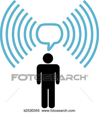Clipart of Wifi symbol man talks on wireless network ...