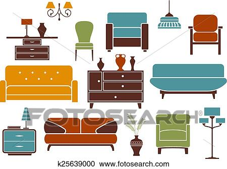 Clipart of Furniture and interior design elements k25639000 ...