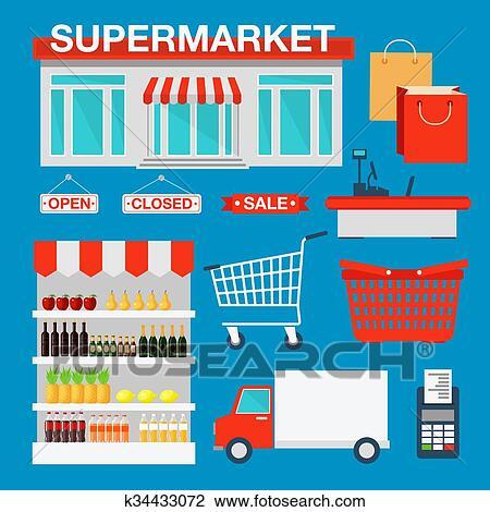 Supermarkt gebäude clipart  Clipart - supermarkt, gebäude, und, innere, mit, produkte ...