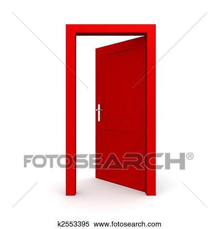 Door Opening Drawing Open Single Red Door