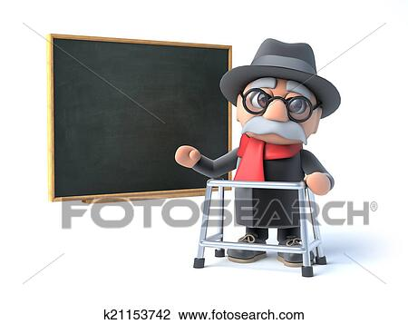 Clip Art Of 3d Grandpa With Walking Frame Stands By The Blackboard