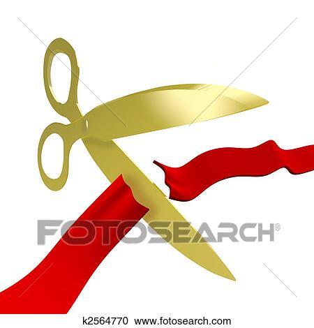 stock illustrations of gold scissors cutting red ribbon k2564770 rh fotosearch com Business Ribbon Cutting ribbon cutting ceremony clipart