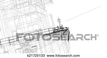 手绘图 - 驳船, 船
