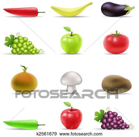 Clip art frutta e verdura icone k2561679 cerca for Clipart frutta