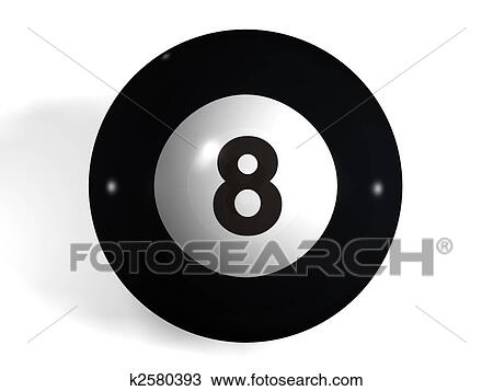 pool ball drawing fotosearch isolated 3d number