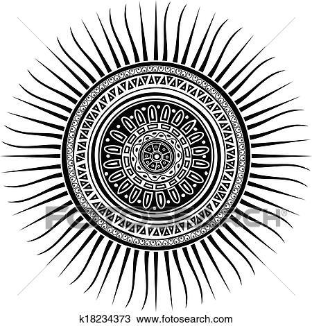 Clipart Of Mayan Sun Symbol K18234373 Search Clip Art