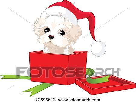 剪贴画 - 小狗, 礼物