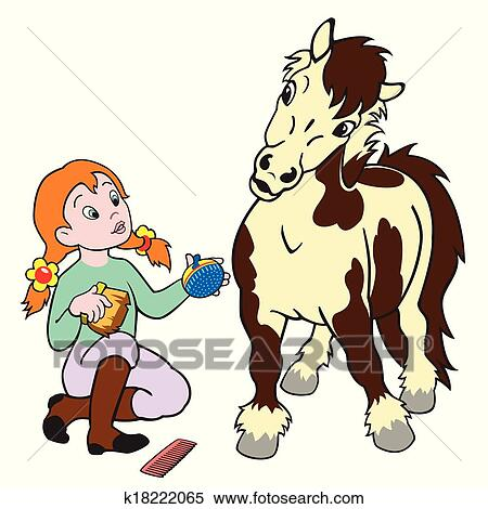 Clipart Of Cartoon Girl Grooming Pony K18222065 Search