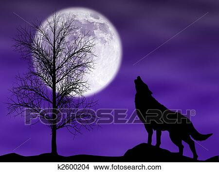 Wolf Moon Drawing Drawing Howling Wolf