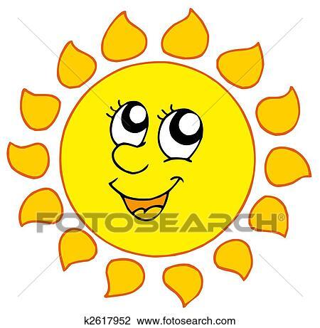clip art of cartoon smiling sun k2617952 search clipart rh fotosearch com smiling sun clipart black and white free clipart smiling sun
