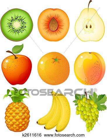 Clip art frutta k2611616 cerca clipart poster for Kiwi giallo piante acquisto