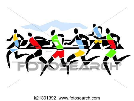 clipart of marathon runners k21301392 search clip art rh fotosearch com running clip art free runners clip art free