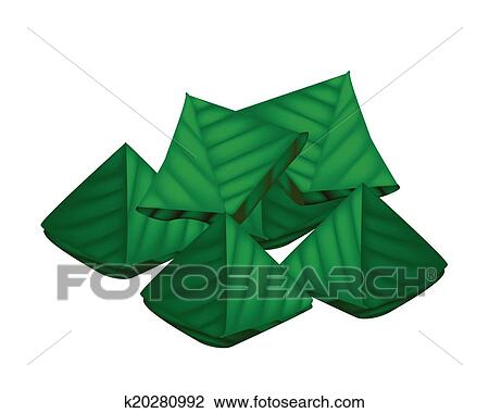 Clipart of Stuffed Dough Triangle Dessert Wrapped in Banana Leaf ...