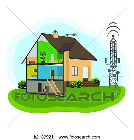 Clipart antenne et maison k21379211 recherchez des for Antenne cellulaire maison