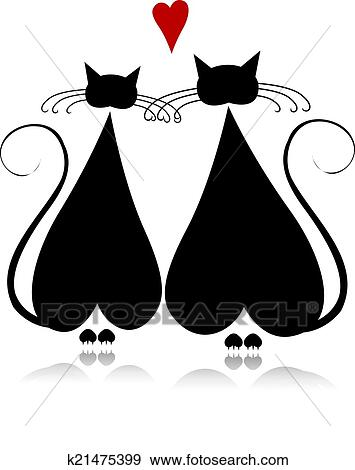gato, enamorado, negro, silueta, para, su, diseño