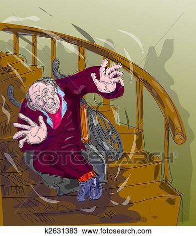 Tekening bejaarde vallen beneden de trap k2631383 zoek clipart illustratie fine art - Beneden trap ...