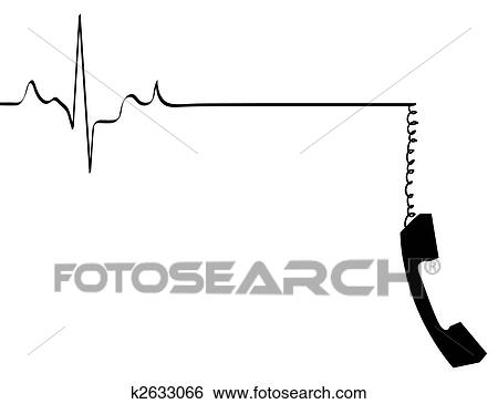 Stock Illustration of phone line rhythm going dead with dangling ...